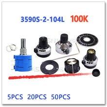 JASNPROSMA 5PCS 20PCS 50PCS 3590S-2-104L 100K Scale plastic iron copper knob Precision multi turn potentiometer 3590S 2 3590