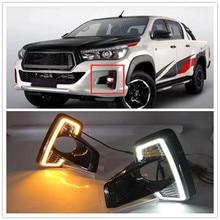 цена на ABS Fog lamp  LED Daytime Running Light For Hilux Revo Rocco 2018 2019 Car Accessories Waterproof 12V DRL Fog Lamp Decoration