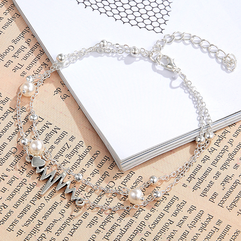 New Design Fashion Heartbeat Anklet Ankle Bracelet Simulation Pearl Heart Beads Anklets Woman's summer Bohemia Jewelry gift hot