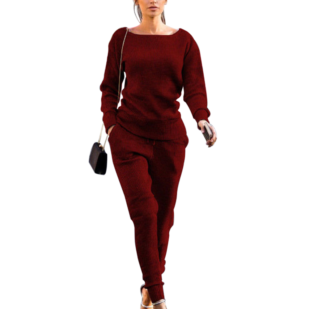 PUIMENTIU Spring Autumn Winter Lossky  Slim Women Knitted Suit Casual Track Suits O-neck Long Sleeve Solid Ladies Sports Suits