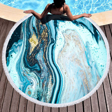 Ocean Blue Marbling Round Beach Towel Tassels Geometric Microfiber Bath Shower Towel For Adults Picnic Yoga Mat Blanket Cover Up france flag printed beach towel outdoor bath towel yoga mat microfiber fabric beach towel for adults