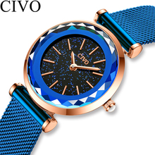 CIVO New Blue Luxury Women Watches 2020 Fashion Casual Female Diamond Quartz Wri