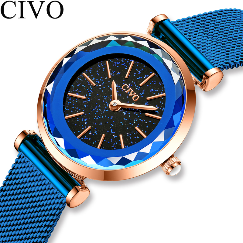 CIVO New Blue Luxury Women Watches 2020 Fashion Casual Female Diamond Quartz Wristwatch Ladies Waterproof Clock Relogio Feminino