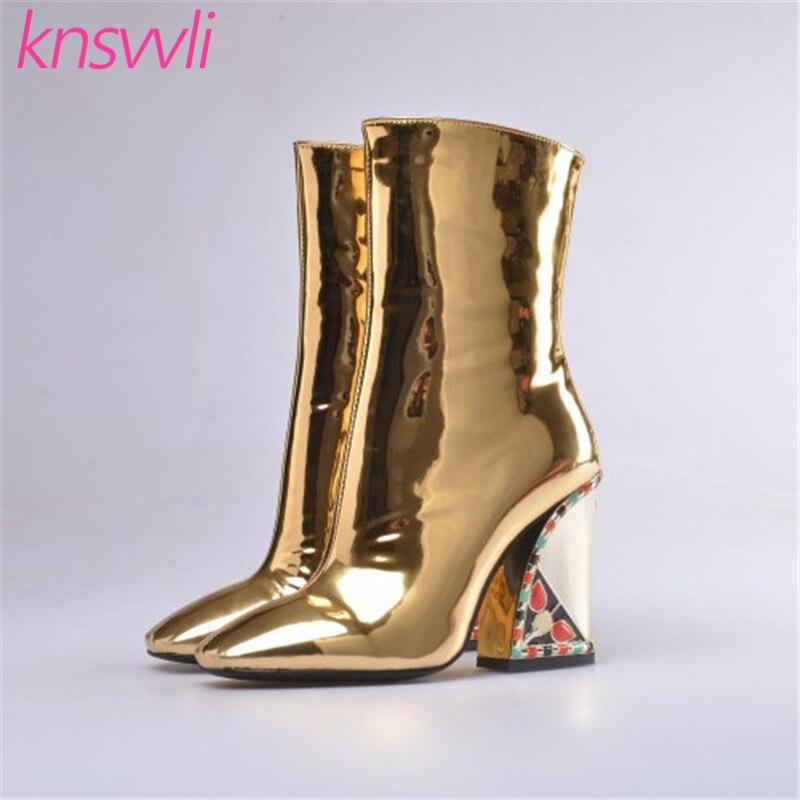 Knsvvli nouvelles bottes de piste strass Chunky talons hauts bottines femmes or miroir Surface chaussures d'hiver femme Chelsea bottes