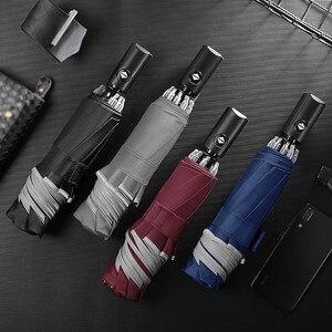 Image 2 - 접이식 자동 우산 역방향 접는 비즈니스 우산 반사 스트립 h0917