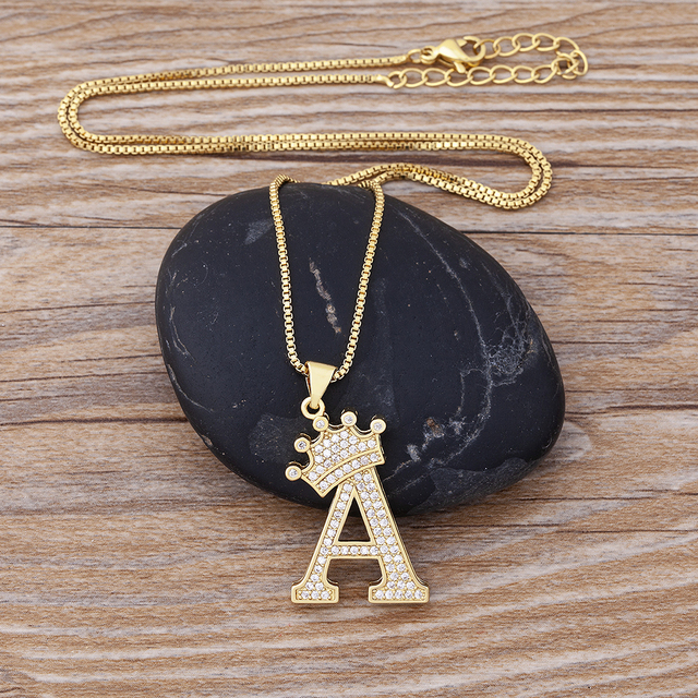 New Design 26 Letters A-Z Zircon Crown Initial Alphabet Pendant Necklace Handsome Punk Hip-Hop Style Choker Chain Jewelry Gift 4