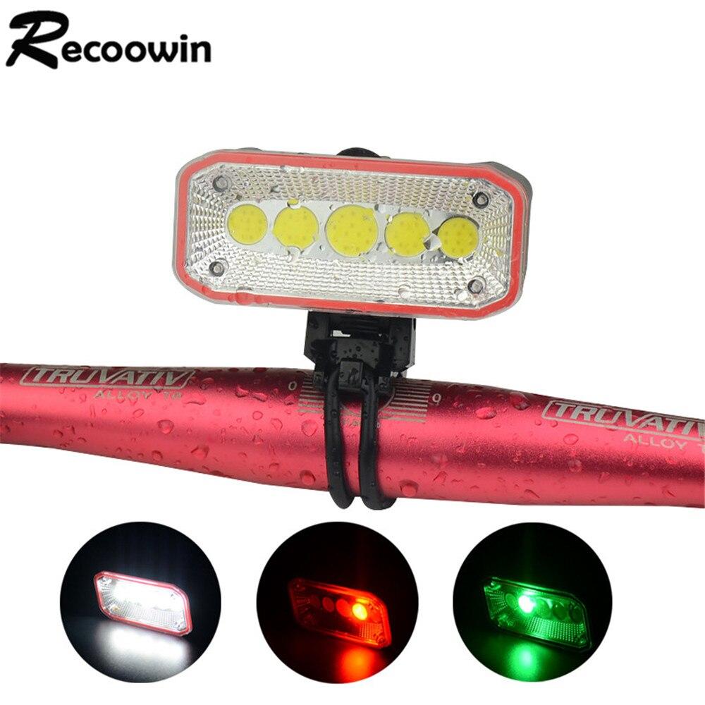 USB Перезаряжаемый светодиодный велосипедный светильник встроенный аккумулятор 4 режима на 1 переключатель cob велосипедный светильник