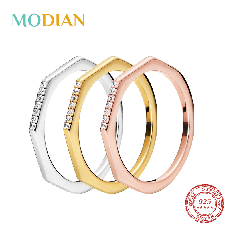 Modian 3 Color New Design 925 Sterling Silver Stylish Stackable Finger Ring Unique Rings For Women Fashion Original Jewelry Gift