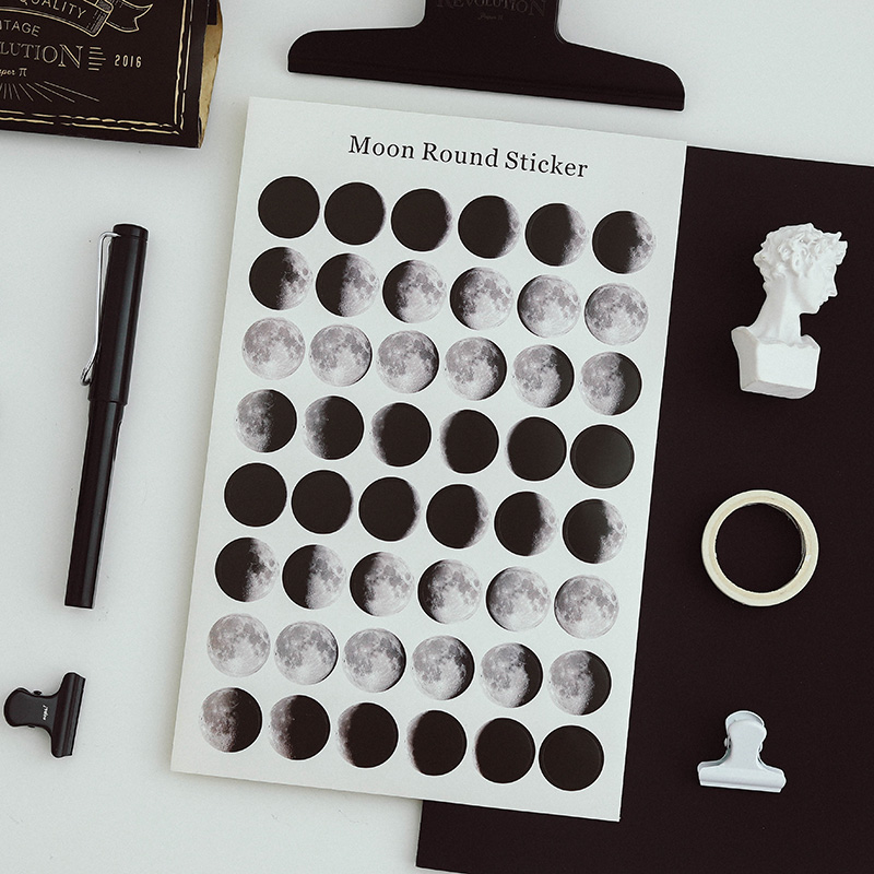 48pcs Moon Paper Sticker Decoration DIY Ablum Diary Scrapbooking Label Sticker Seal Stickers Stationery School Supply