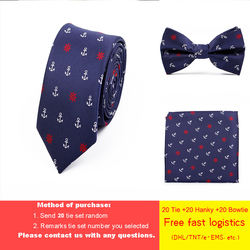 DHL/TNT free shipping 20 Sets Wholesale Jacquard Weave Tie Set 6cm Anchor Necktie Gravata Pocket Square Bowtie Suit for Wedding