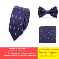 DHL/TNT free shipping 20 Sets Wholesale Jacquard Weave Tie Set 6cm Anchor Necktie Gravata Pocket Square Bowtie Suit for Wedding
