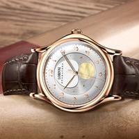 Lobinni men relógio automático marca de luxo auto vento relógios mecânicos fase da lua relógio pulso relogio masculino à prova dwaterproof água reloj Relógios mecânicos     -