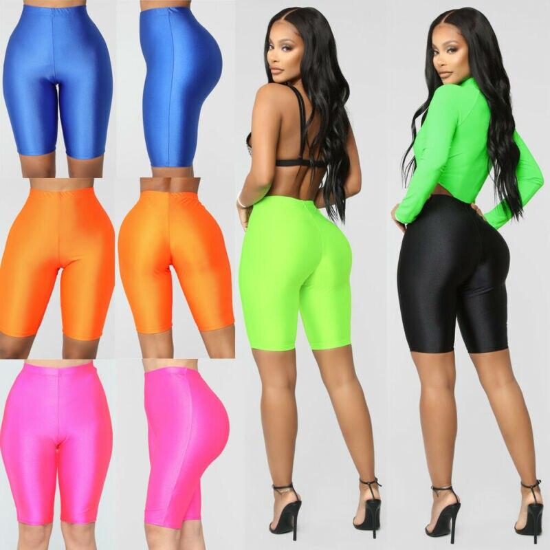 High Waist Sports Shorts Women Biker Shorts Summer Skinny Fitness Solid Bodycon Cycling Bottoms 3