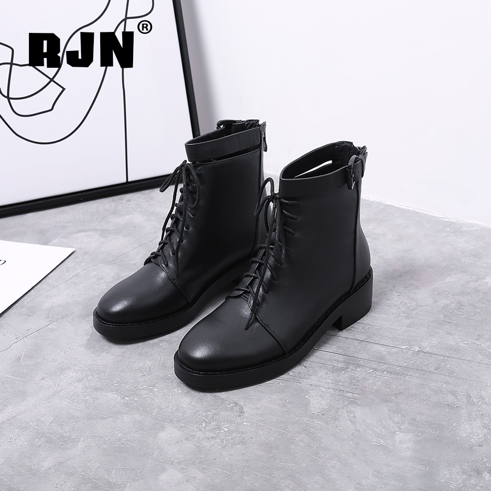 Cheap RJN Classic Black Ankle Boots Buckle Strap Decoration Zipper Comfortable Round Toe Med Heel Cow Leather Women Winter Boots RO34