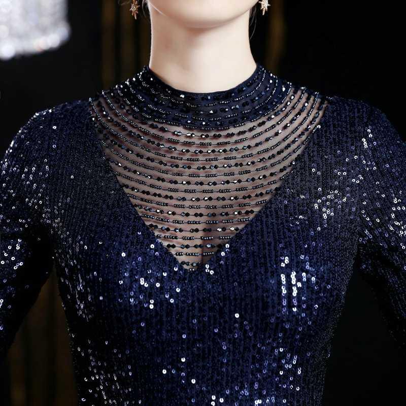 Yidingzs Paillettes da Sera Del Vestito da Partito 2019 Perline Mezza Manica Formale Abiti da Sera Lunghi YD16679