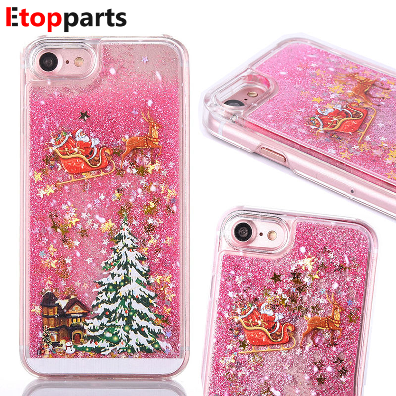 Quicksand Christmas Tree Liquid Phone Case For iPhone X XS Max 6 7 8Plus Fashion Bling Dynamic Back Cover