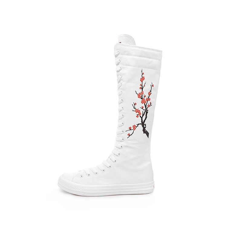 2019 Moda Ayakkabı Kadınlar için Tuval Dantel Up vulkanize ayakkabı Diz Yüksek Üst Kadınlar Düz Rahat Botas Artı Boyutu Zapatos De Mujer