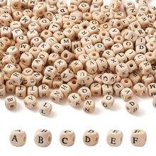520 pçs/saco letra contas de madeira natural quadrado alfabeto contas solta espaçador grânulos para fazer jóias artesanal diy pulseira colar