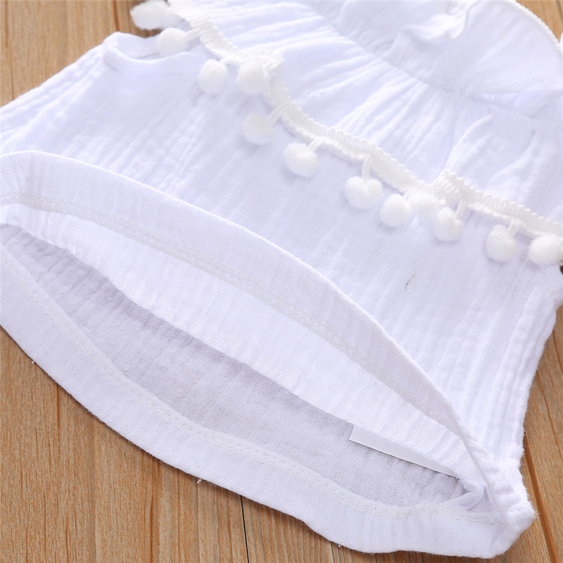 0 24M 3pcs Toddler Baby Girl Clothes Set Ruffle Short Sleeve White Tassels Top Purple Shorts Bloomers Headband Outfits Set in Clothing Sets from Mother Kids