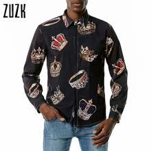 Мужские рубашки с длинным рукавом zuzk хип хоп принтом короны