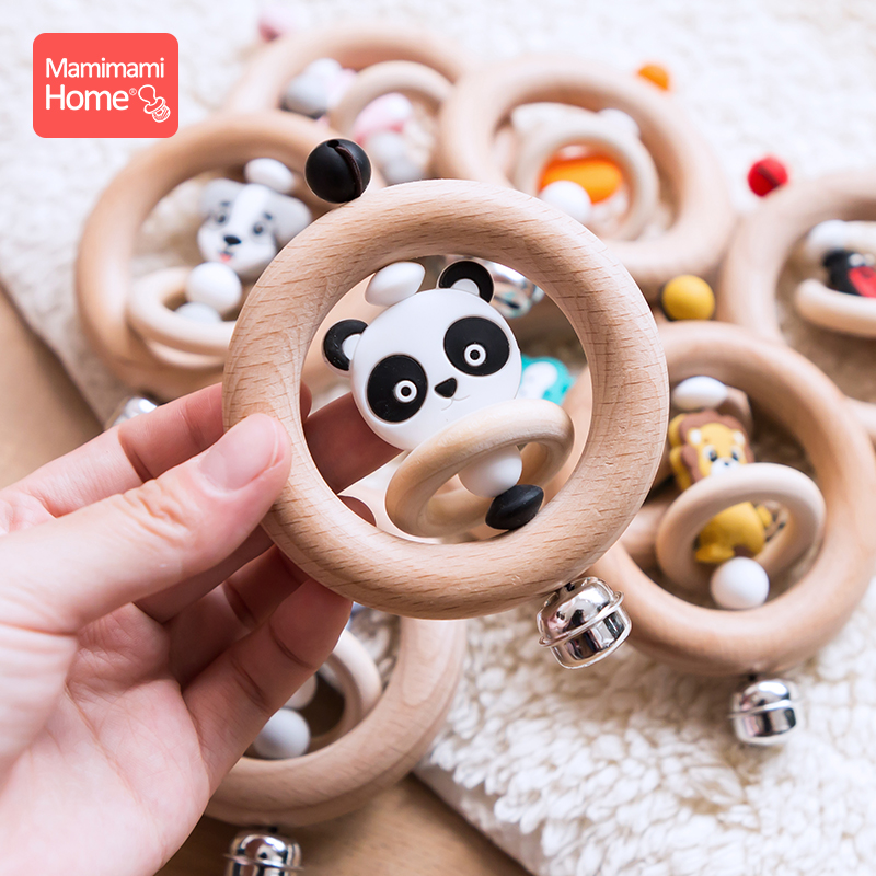 Mamihome 1pc Baby Wooden Teether Animal Rattle Bell Lion King Toys Beech Rings Food Grade Silicone Rodent Beads Children'S Goods