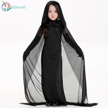Black ghost female night costume Halloween queen witch adult  girls tage party holiday