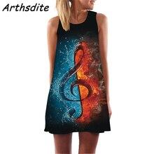 Arthsdite Vintage Music Sleeveless O-Neck 3d Floral Print Midi Dress Women Summer Dresses Female Streetwear Sundress