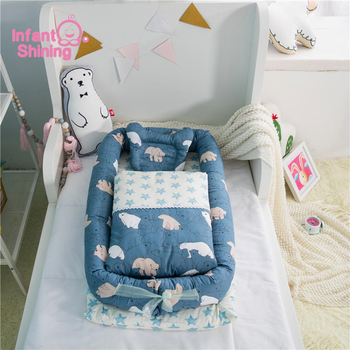 Infant Shining Infant Co-sleeping Bed Portable Baby Crib 95*50*15cm(37*19*6in) 3PCS/Set Nursery Travel Folding Bed for Baby Care