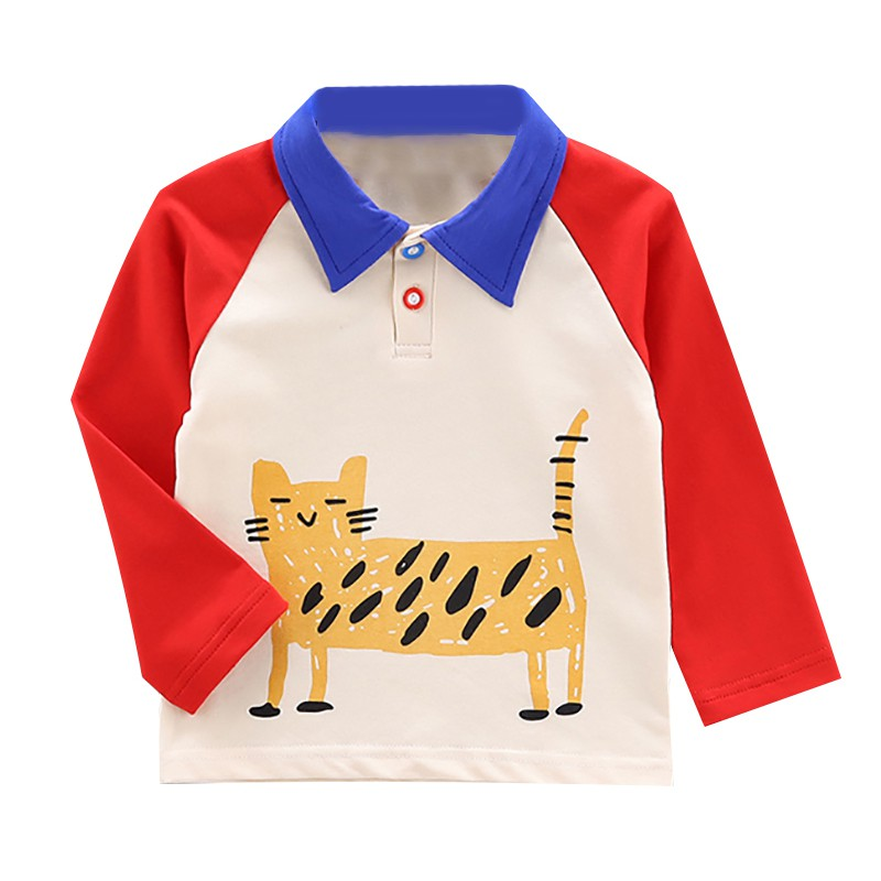 Autumn Boys T Shirt Baby Tops Children Clothes Toddler Cotton Shirts Kids Long Sleeve Soft T shirts Boy Cartoon Cat Blouse 6 48M in T Shirts from Mother Kids