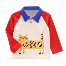 Autumn Boys T Shirt Baby Tops Children Clothes Toddler Cotton Shirts Kids Long Sleeve Soft T-shirts Boy Cartoon Cat Blouse 6-48M недорого