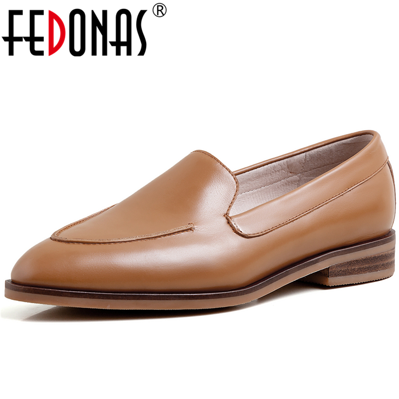 FEDONAS Classic Design Concise Fashion Cow Leather Women Casual Shoes Pointed Toe Square Heels 2020 Spring Slip-On Shoes Woman