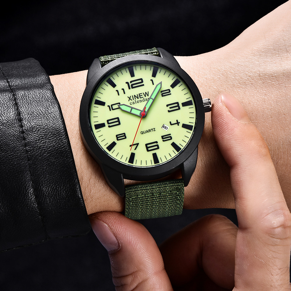 Man watch Reloj hombre XINEW Nylon Strap Simple Calendar Luminous Dial Outdoor Men's Quartz Watch Montre homme@@1