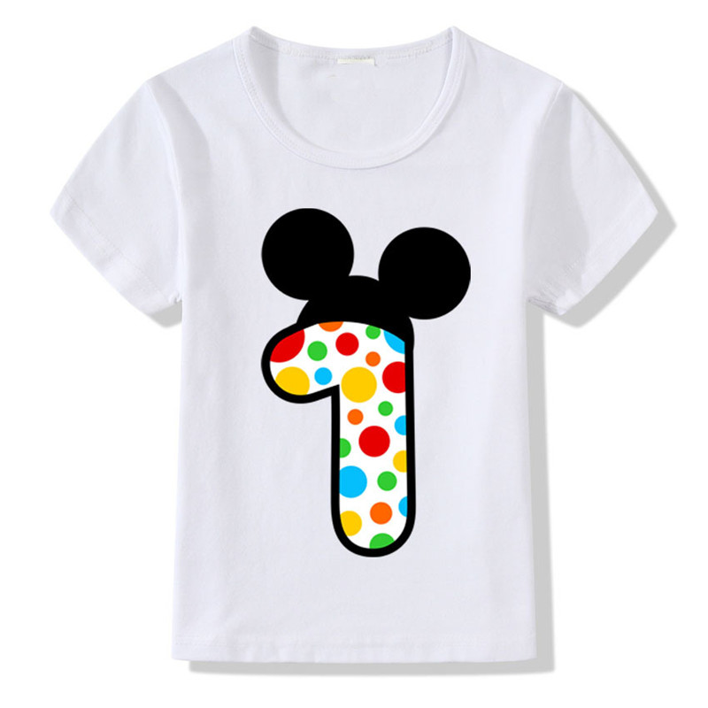 Cartoon Mickey T-Shirt Baby Boys Numbers Bow Print Birthday Age Short Sleeve For Kids Girls Summer Casual Dot Children Tees Tops