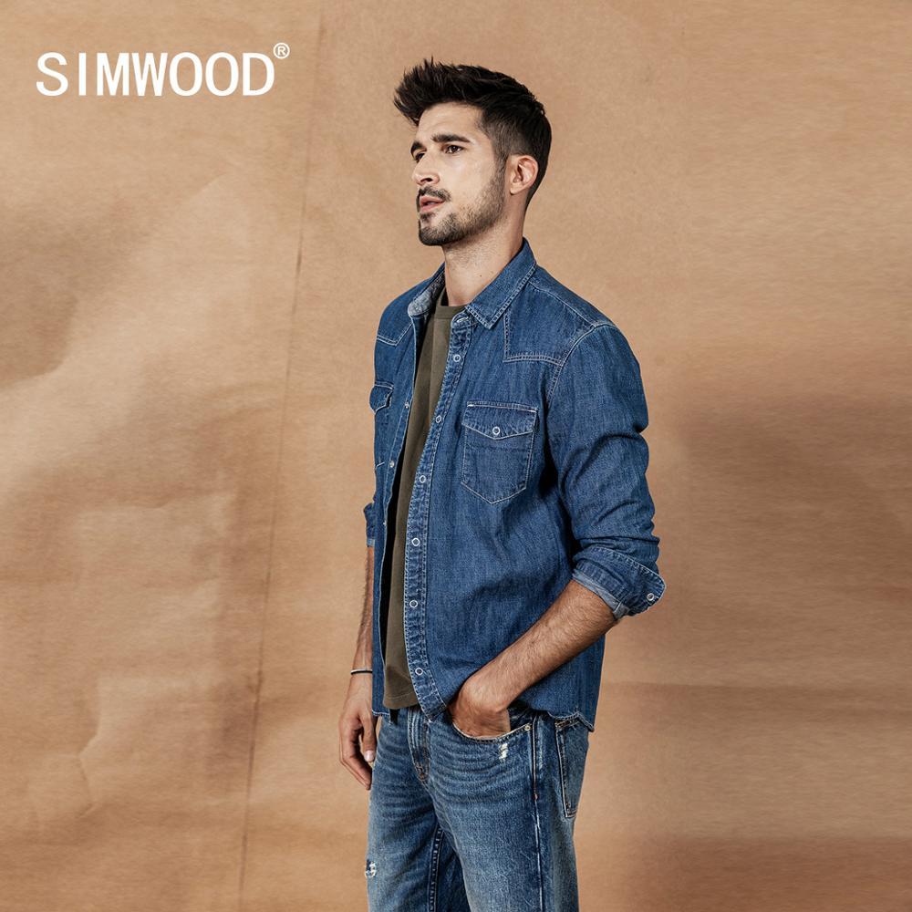 SIMWOOD 2019 Autumn New Denim Shirts Men Casual Snap Button 100% Cotton Shirt Plus Size Quality Brand Clothing 190407