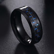 2019 Titanium Steel Black Carbon Fiber Rings Fashion Blue Ring Anel Masculino Men's Cool Jewelry(China)