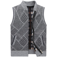 Jacket Vest Sweater Cardigan Knit Men Waistcoat Fleece Fashion Winter Thick Stand-Collar
