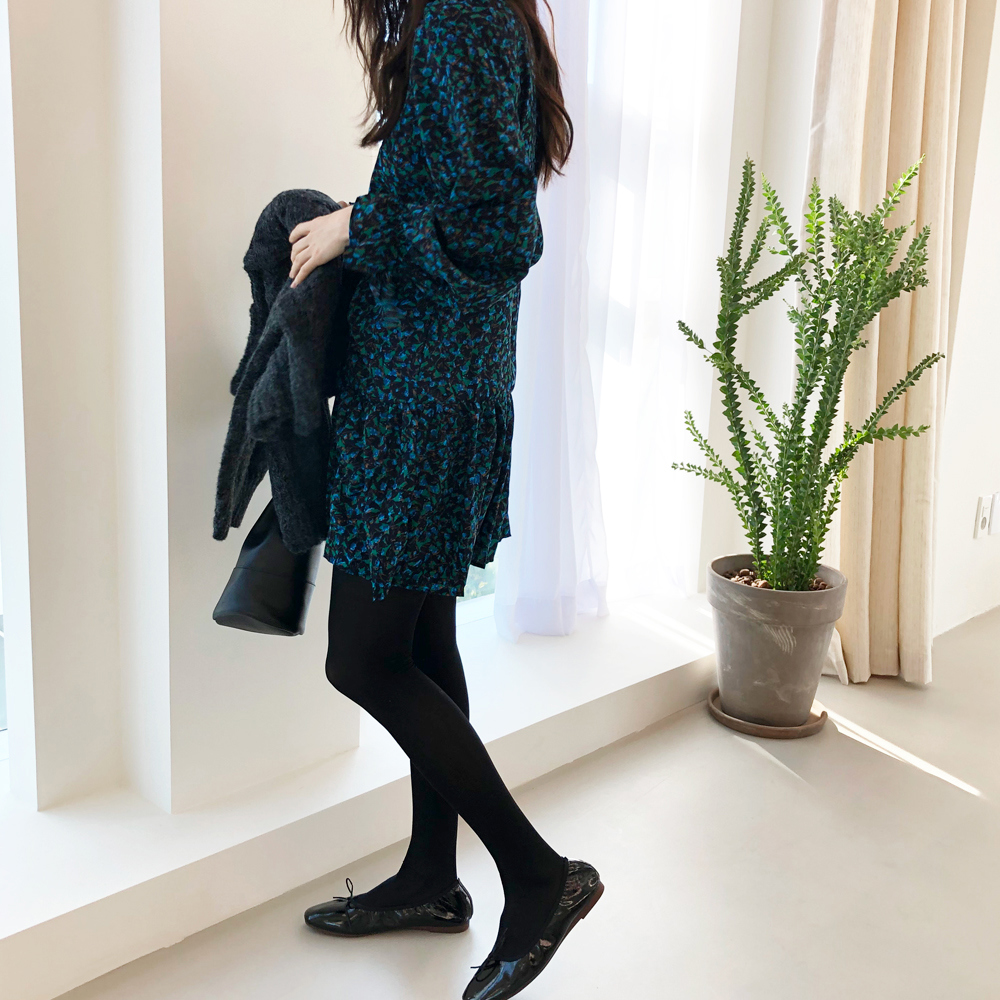 H57ecb9a6cf21429d803a49d4d850c871m - Autumn V-Neck Flare Sleeves Drawstrings Floral Print Mini Dress