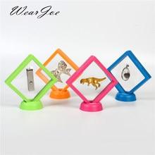 Boîte à bijoux en couleurs, 9x9cm, Suspension, anneau, boucles d'oreilles, pendentif, présentoir, support, Badge, stockage de gemme, vente en gros