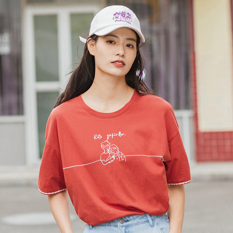 INMAN 2020 Summer New Arrival Literary Funny Printed Check Splicing Pure Cotton Loose Short Sleeve T-shirt