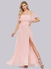 Plus rozmiar głęboki dekolt różowy linia sukienki druhen Vestidos De Soriee XUCTHHC Party Dress 2020 rękaw z falbankami kobiety pełna sukienka