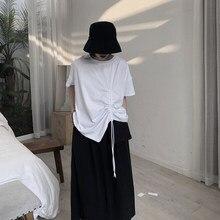 Drawstring stretch enrugamento liso preto e branco solto camiseta verão curto jaqueta 2020 novas roupas de verão