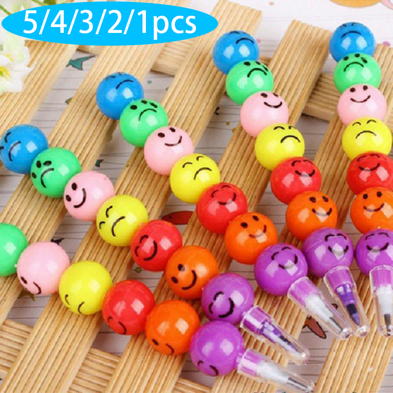 5/4/3/2/1pcs Smiling Face South Korea Crayon Creative Stationery Wholesale Crayon Tomatoes On Sticks Prize For Students