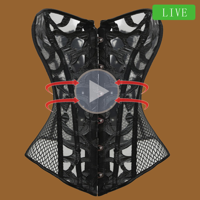 bustier Corset sexy  waist trainer Lace Mesh Corselet steampunk women gothic clothing lingeri modeling strap slimming underbust