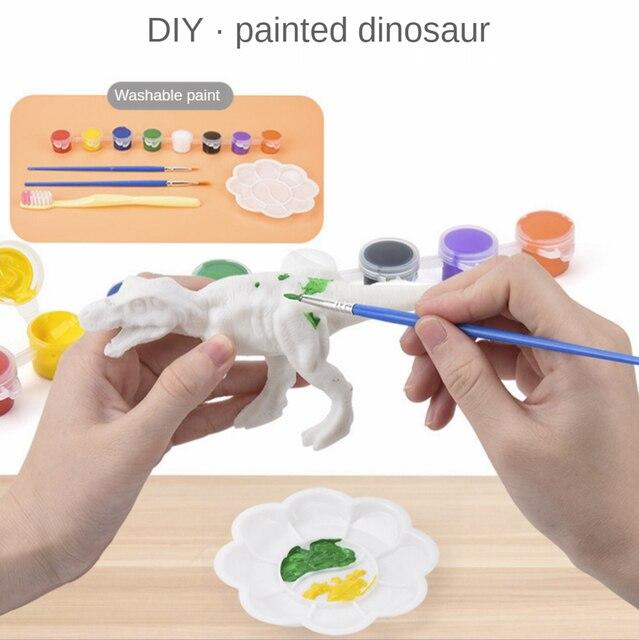 DIY Solid Dinosaur Blank Model Hand Painting Graffiti Dinosaur Set Toys 2