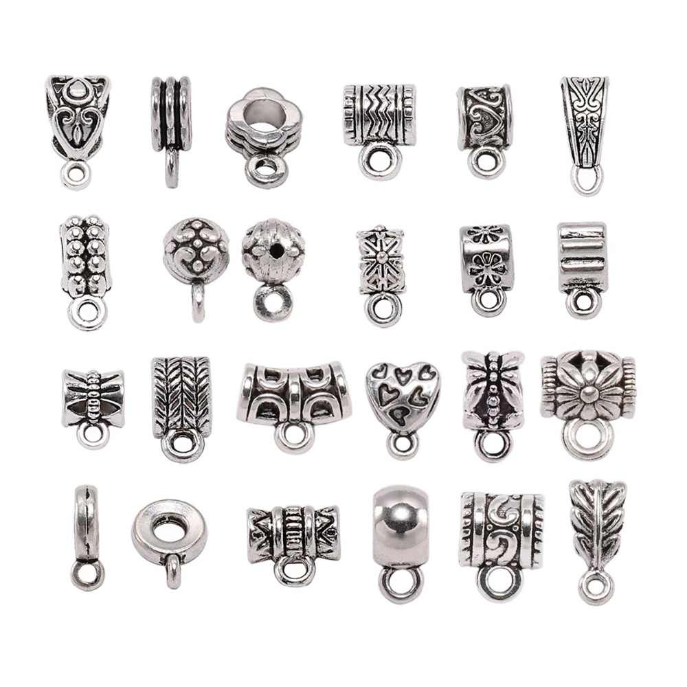 20pcs Antique Silver Charm Bail Beads Spacer Beads Pendant Clips Pendants Clasps Connectors For Bracelet Necklace Jewelry Making