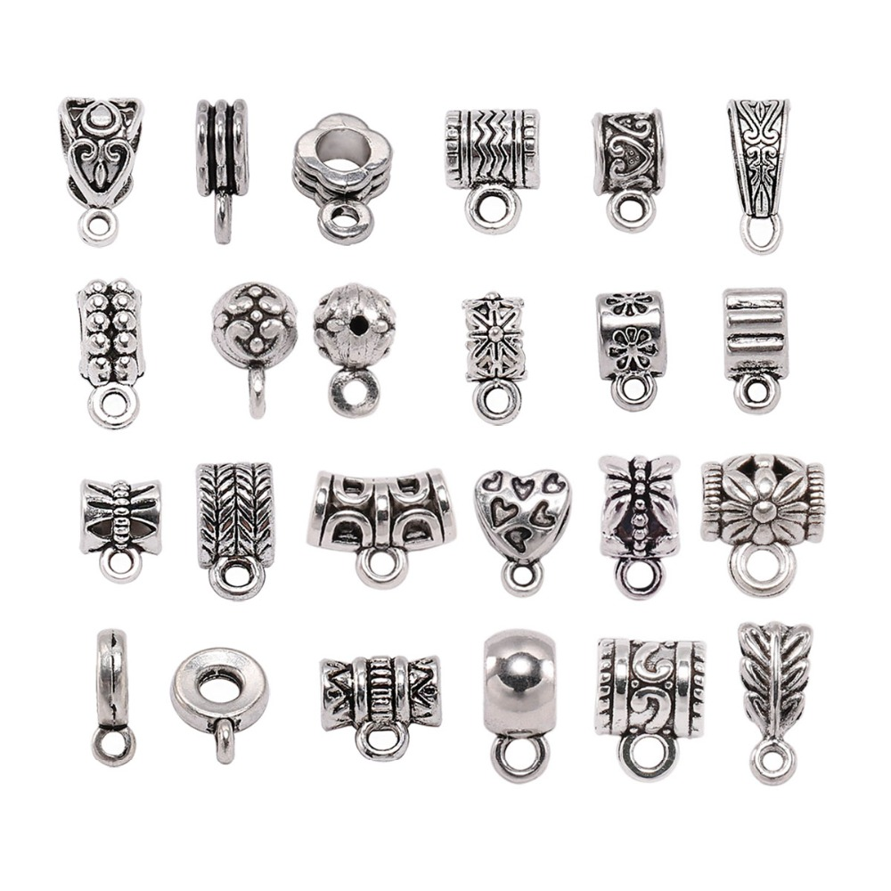 20pcs Antique Charm Bail Beads Spacer Beads Pendant Clips Pendants Clasps Connectors For Bracelet Necklace Jewelry Making