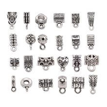 20pcs Antique Charm Bail Beads Spacer Beads Pendant Clips Pendants Clasps Connectors For Bracelet Necklace Jewelry Making