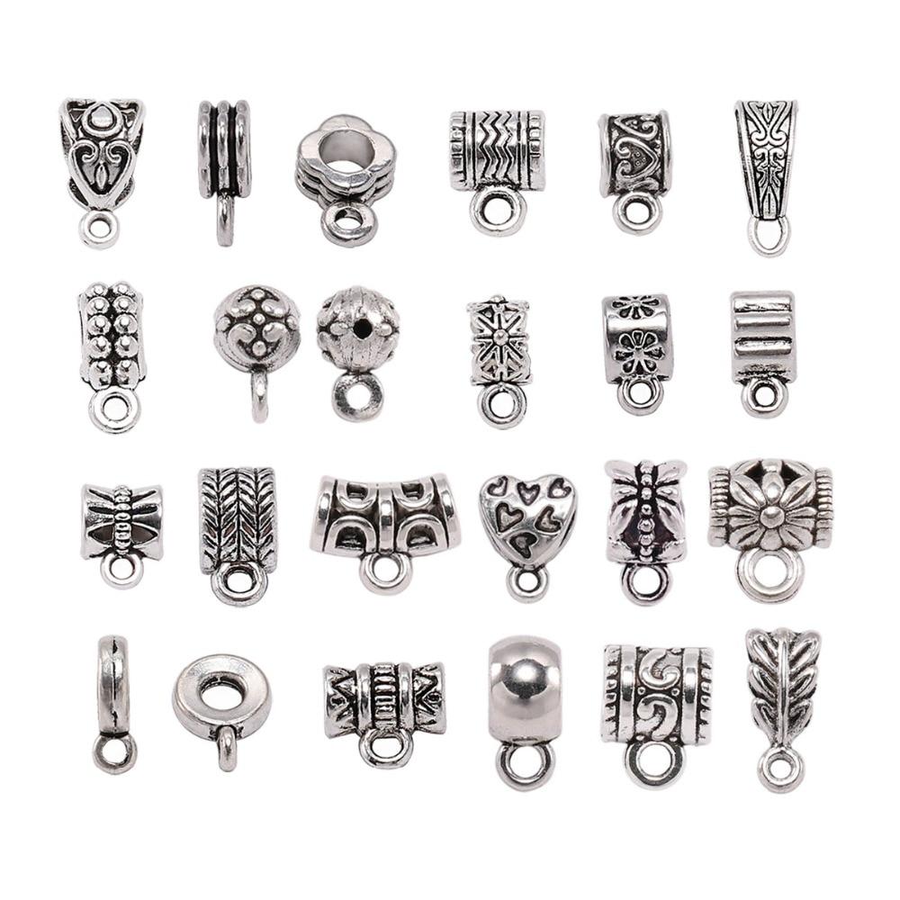 20pcs Antique Silver Charm Bail Beads Spacer Beads Pendant Clips Pendants Clasps Connectors For Bracelet Necklace Jewelry Making