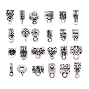 20pcs Antique Silver Charm Bail Beads Spacer Beads Pendant Clips Pendants Clasps Connectors For Bracelet Necklace Jewelry Making(China)