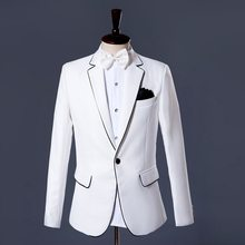 Mens White Formal Wedding Dress Suit Stage Show Costume Outfits Groom Slim Fit Blazer Jacket Pants Office Party Two Piece Set(China)